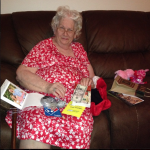 Mom enjoyed opening her gifts.